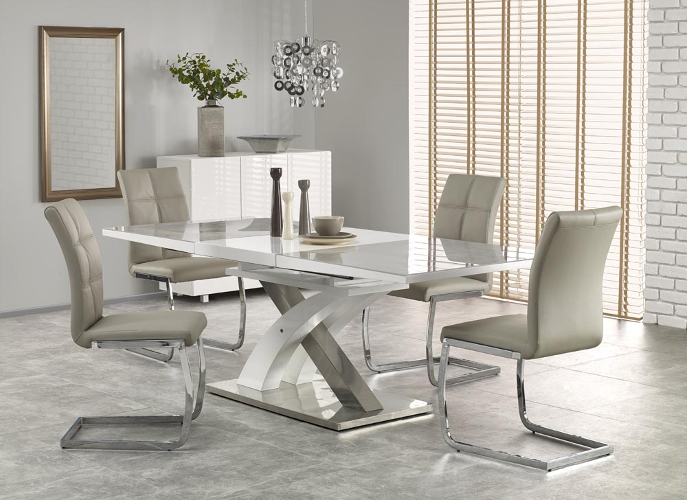 Raul Ii 160 Cm Grey Glass White High Gloss Mdf Modern